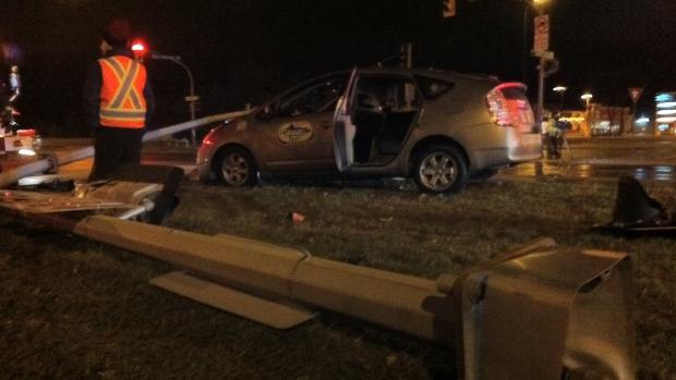 A taxi cab hit a hydro pole on Dakota Street.