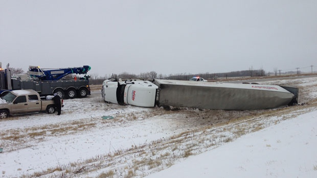 This semi was spotted overturned in the ditch on Highway 1 just a few kilometres east of Deacon's Corner.