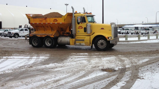 The city deployed 130 pieces of equipment Saturday, including snow plows, salting and sanding trucks.