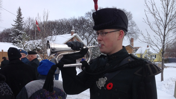 A Remembrance Day ceremony is held at Valour Road and Sargent Avenue Sunday.