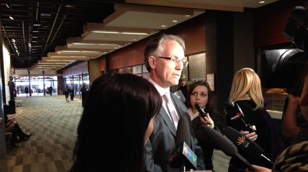 Counsel for Manitoba's Department of Family Services and Consumer Affairs, Gordon McKinnon, speaks to the media Nov. 14, 2012 during a break in testimony at the Phoenix Sinclair Inquiry.