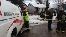 Fire crews battled a blaze in the 100 block of Ren