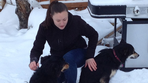 Jill Britton, a volunteer with the Norway House Animal Rescue Network, plays with her dogs.