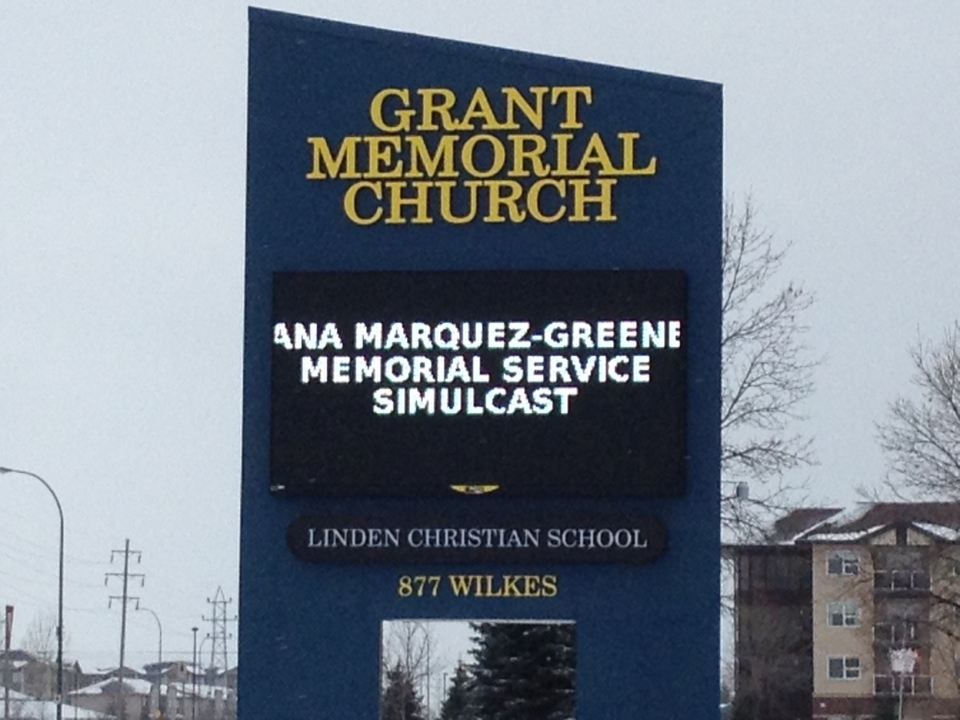 Hundreds of Winnipeggers attended a live broadcast of Ana Marquez-Greene's memorial service at Grant Memorial Baptist Church Saturday.