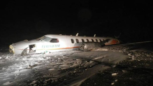 This plane crashed in Nunavut Saturday after leaving Winnipeg. (photo courtesy of the Transportation Safety Board)