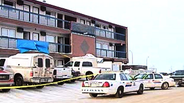 RCMP taped off a second-floor hotel suite at the Best Lodge hotel in Lloydminster, Alta. after finding a Winnipeg man dead inside.
