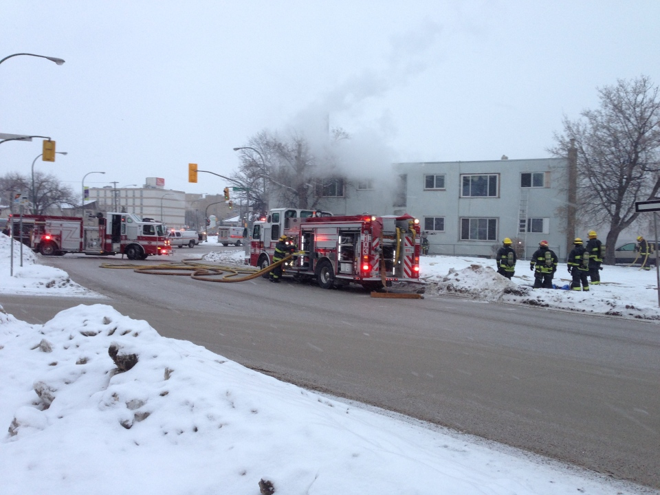 Multiple fire crews were called to fight the fire in an apartment building on Sherbrook Street Sunday.