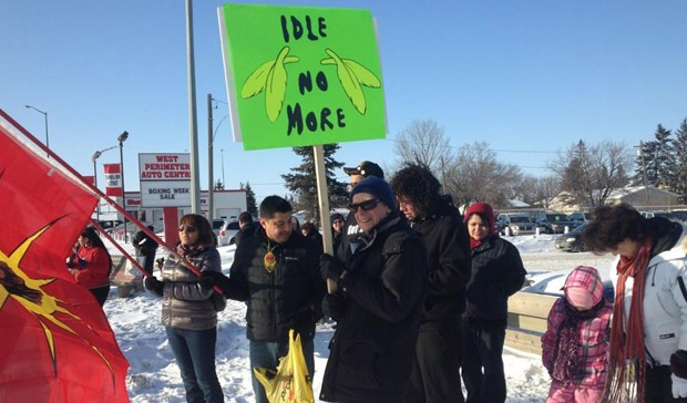 Idle No More supporters rally at Portage Avenue at St. Charles Street in Winnipeg on Jan. 2, 2013.