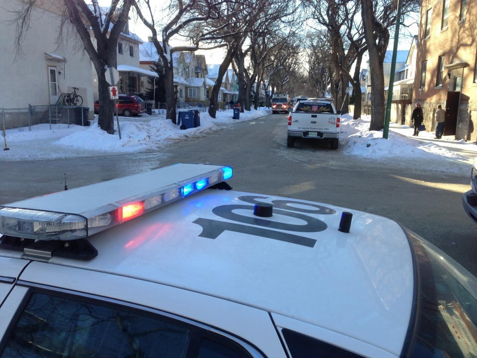 Police cruisers blocked off the 700 block of Victor Street Saturday morning following a large fire.