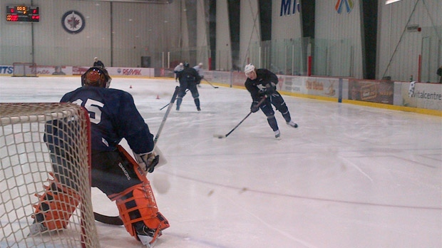 A handful of Jets practice in Winnipeg on Jan. 7, 2013 at the MTS Iceplex.