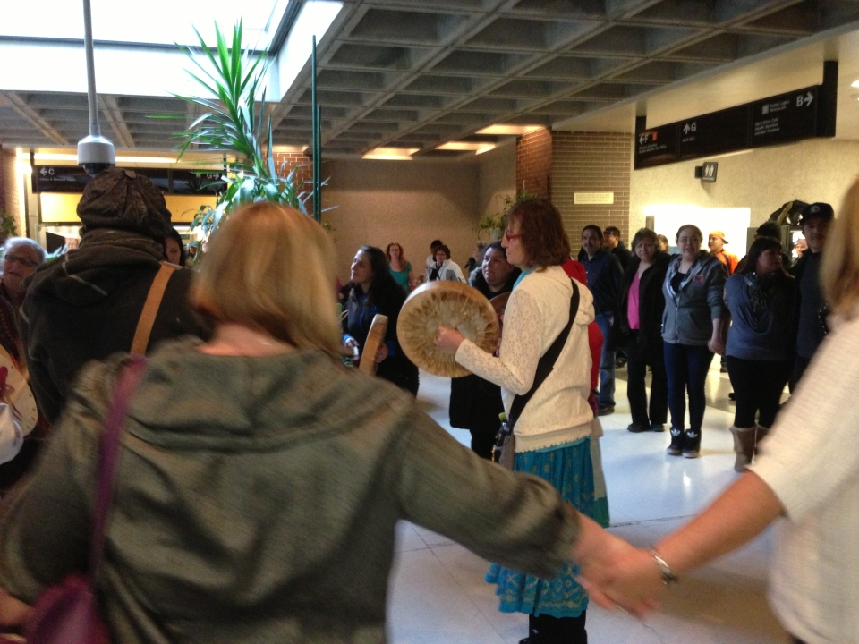 Idle No More protests form a round-dance at the University of Winnipeg as part of several protests across the city. (file image)