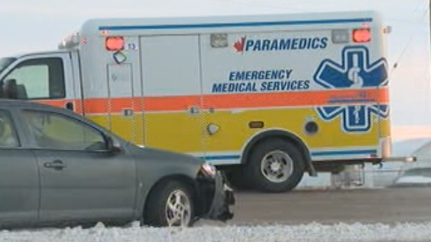 Crews respond to a crash on Fermor in Winnipeg on Jan. 16, 2013.