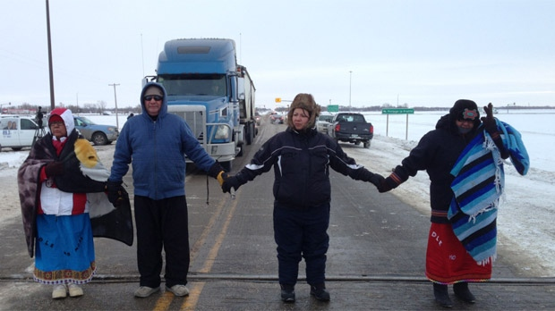 Protestors temporarily blocked the Yellowhead Highway near Portage la Prairie on Jan. 16, 2013.