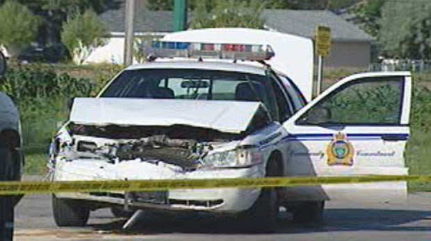 A police chase in 2007 ended with a smashed police cruiser and a suspect getting shot.