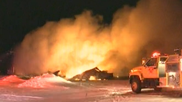 Firefighters battled the blaze at a greenhouse near Otterburne, Man. for multiple hours on Jan. 23, 2012.