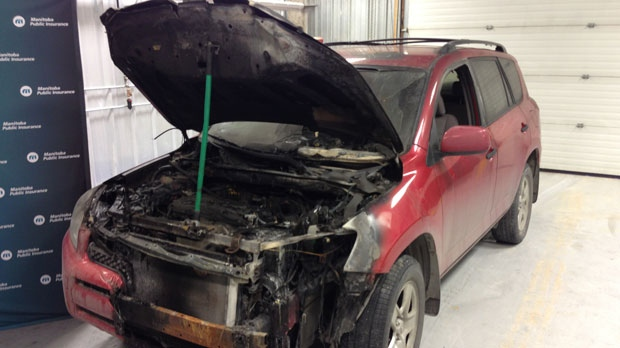 This vehicle was damaged by a fire caused by a faulty extension cord.