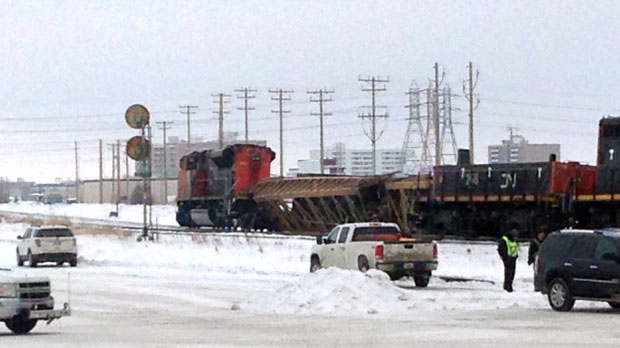 A CN train car derailed near the Jubilee Overpass early on Saturday morning.