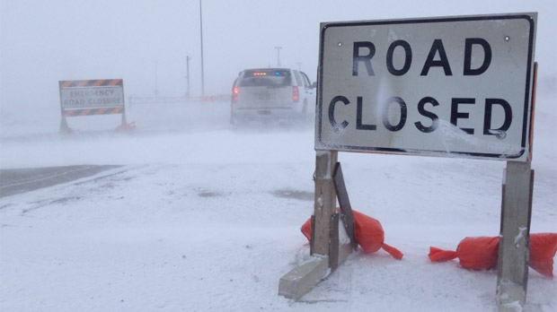 RCMP said numerous collisions were reported and multiple road closures were put into place in southern Manitoba on Feb. 18, 2013.