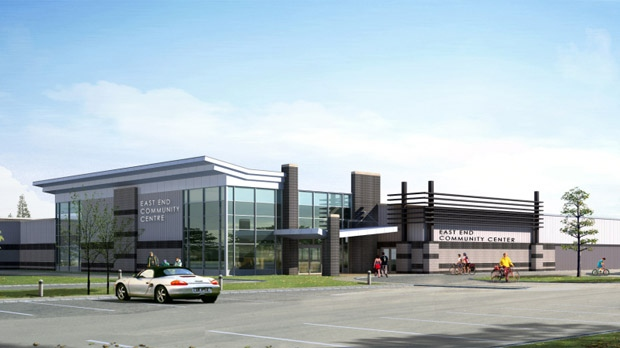 A rendering shows the planned expansion of the East End Arena in Transcona.