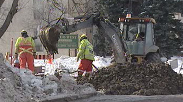 Crews were out working to repair the problem in Charleswood early on Sunday.