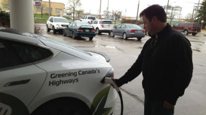 Sun Country Highways held a demonstration at the charging station at the Hilton near the airport on Saturday.