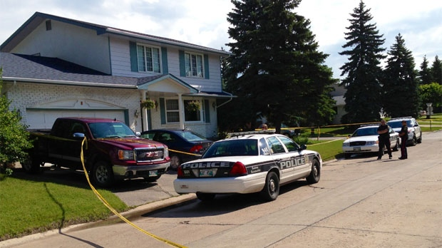 Winnipeg police on scene in the first 100 block of Coleridge Park Drive on July 24, 2013. Two children were rushed to hospital but died.