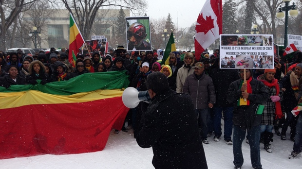 Dozens of people from Manitoba's Ethiopian community marched to raise awareness about violence and working conditions in Saudi Arabia.