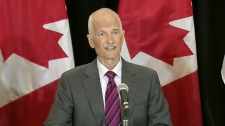 NDP Leader Jack Layton speaks to the media about his battle with cancer in Toronto, Monday, July 25, 2011.