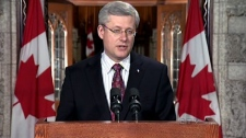Prime Minister Stephen Harper makes a statement on the death of Jack Layton, the mission in Libya and the Nunavut plane crash in Ottawa, Monday, Aug. 22, 2011.
