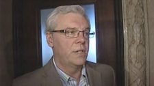 Manitoba Premier Greg Selinger speaks about Jack Layton's death with reporters on Aug. 22, 2011.