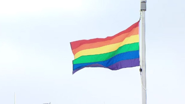 A pride flag flies outside Ottawa City Hall on Friday, Feb. 7, 2014 in protest of Russia's anti gay laws while they host the Olympic Games.