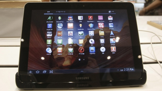 A Samsung Electronics' Galaxy Tab 10.1 is displayed at the showroom of its headquarters in Seoul, South Korea, Thursday, Oct. 13, 2011. (AP Photo/Ahn Young-joon)