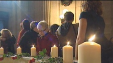 The vigil was held Dec. 6, 2011 at the Manitoba Legislature to mark Canada's National Day of Remembrance and Action on Violence Against Women.