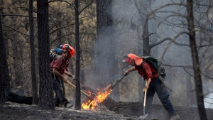 Fire fighters tackle a flare up at the Smith Creek fire located on a hillside in West Kelowna, B.C., Saturday, July, 19, 2014. (Jonathan Hayward / THE CANADIAN PRESS)