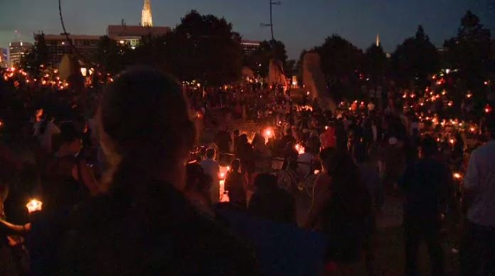 An estimated crowd of 2,000 attends a vigil for Tina Fontaine and Faron Hall at the Oodena Circle at The Forks Tuesday evening.