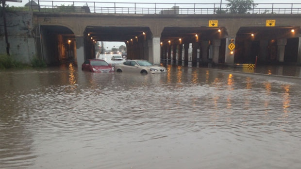Flooding at the Higgins underpass is shown during the thunderstorm on Aug. 21, 2014 in Winnipeg.