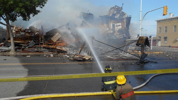 Fire crews battle the blaze at the Towers Hotel in Dauphin, Man. on Sept. 18, 2014. (Image courtesy RCMP)