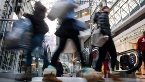 Shoppers carry their purchases through Toronto's Eaton Centre, Friday Nov. 29, 2013. (AP / The Canadian Press, Chris Young)