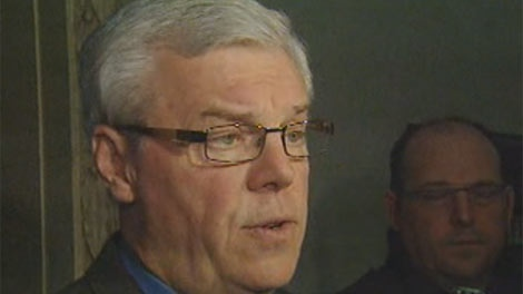 Manitoba Premier Greg Selinger speaks to reporters about the federal budget on March 29, 2012.