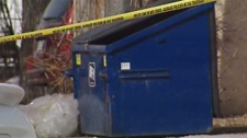 Winnipeg police investigated what they call suspicious circumstances near a dumpster on Notre Dame Avenue Saturday. Clear plastic could be seen near the dumpster for a short time Saturday.
