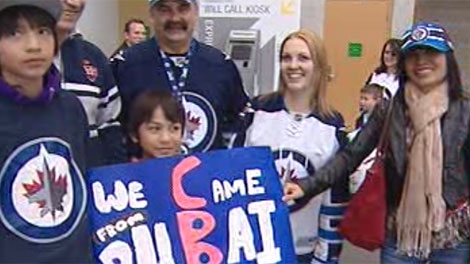 Jets fans came from far and wide to see the team's season ender match-up against the Tampa Bay Lightning.