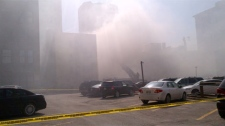 Heavy smoke filled the Exchange District and downtown Winnipeg from the Albert Street blaze on April 19, 2012.