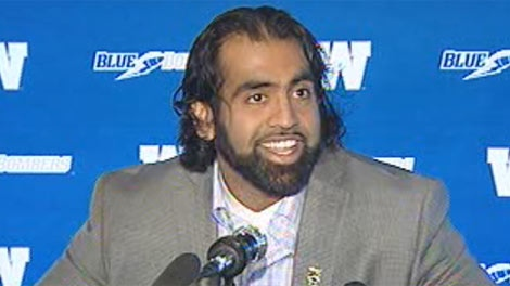 Winnipeg Blue Bomber Obby Khan announces his retirement on April 25, 2012.
