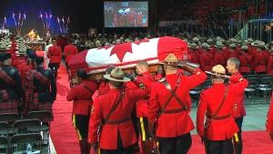 RCMP Const. David Wynn's casket arrives at his regimental funeral in St. Albert, Alta., Monday, Jan. 26, 2015.