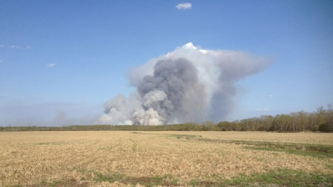 The grassfires have sent smoke billowing into the air near Steinbach.(Holly Caruk / CTV News)
