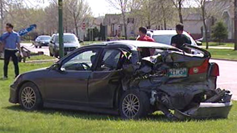 This car was severely damaged after a truck rammed five cars in Transcona Sunday.