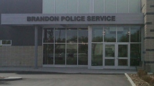 A file image shows the Brandon police station in southwestern Manitoba.