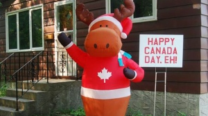 Happy Canada Day, Eh! This moose is actually a Christmas decoration. We thought he looked so Canadian that he should greet everyone on the street for Canada Day too, Eh? Photo by Lisa
