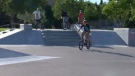 A group of teens bikes at the St. Vital Skate Park two days after a pair of boys had their bikes taken from them nearby.