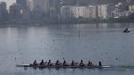 Italian rowers practice on Rodrigo de Freitas lake in Rio de Janeiro, Brazil, on Tuesday, Aug. 4, 2015. (AP Photo/Silvia Izquierdo)